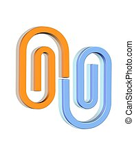 3d paper clips - Orange and cyan color 3d clips on white