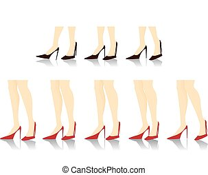 Beautiful High Heels - Eight different poses of great long...