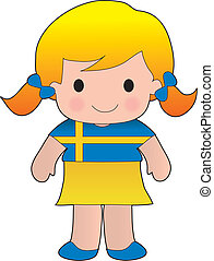 Swedish Poppy - Little girl in a shirt with the Swedish flag...