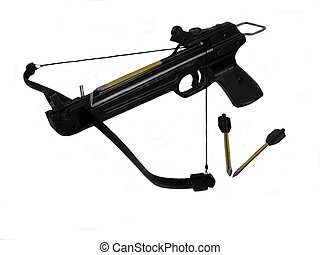 Crossbow - A loaded pistol crossbow with two arrows, over...