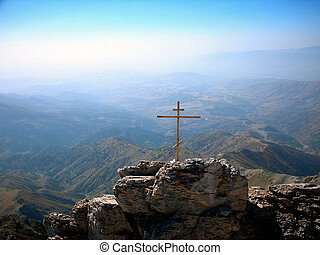 Cross on the alp - Orthodoxy cross on the Chimgan mount on...