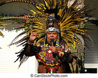 Aztec Tribal Elder - An aztec tribal elder giving lesson in...