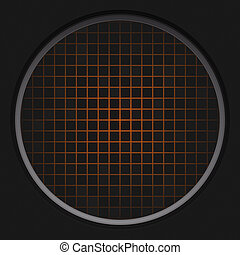 Orange Radar Grid - A circular radar grid background over...