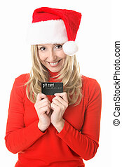 Christmas Girl Gift card - Girl wearing a festive santa hat...