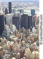 skyscrapers in NYC from bird\\\'s eye view