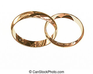 Two gold wedding rings on white chained together High...