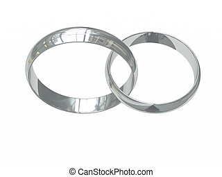 Two platinum or silver wedding rings on white chained...