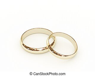 Gold wedding rings on white background. High resolution 3D...