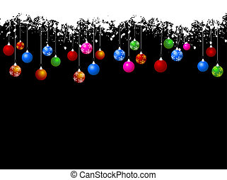 Christmas baubles - Hanging Christmas baubles on grunge...