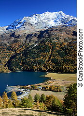 """Silvaplanasee, P. Corvats - View to lake \\\""""Silvaplana\\\""""..."""