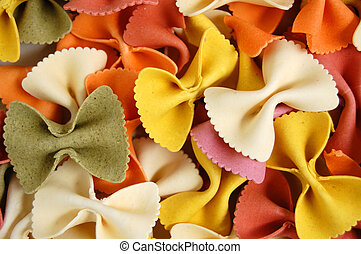 farfalle pasta food background - Many different flavors of...