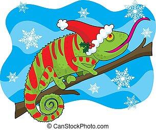 navidad, camaleón