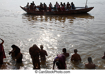 Ganges River - Ganga River - holy place for hindu people /...