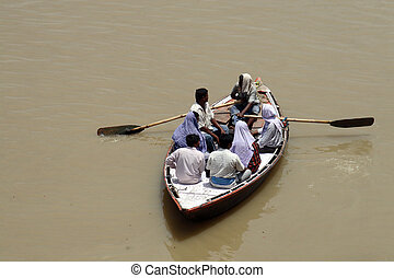 People on boat - Boat with people - Ganga River varanasi...