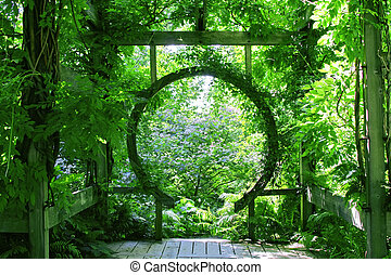 Garden with rounded arch