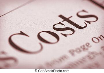 Focus on Costs - Shallow depth of field with Costs and paper...