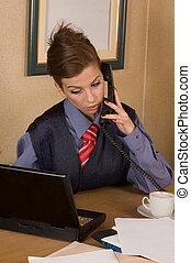 Businesswoman call at office - Business woman making...