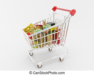 Shopping Cart - High resolution image shopping cart 3d...