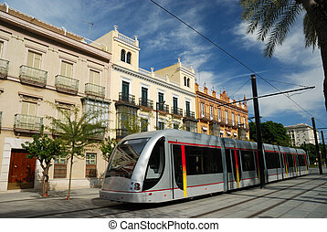 Modern urban railway in the city of Seville, Spain