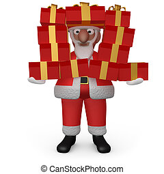 Santa with Presents - Computer generated image - Santa with...