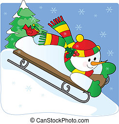 Snowman Sled - A snowman sledding down a hill with a...
