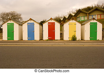Beach Huts - Beach huts on the Exmouth seafront, UK