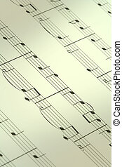 music note background, focus is set in the centre, shallow...