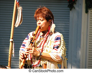 Buffalo Woman with flute - Native American Buffalo woman...