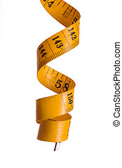 Spiral metre for measuring on white backgrounds