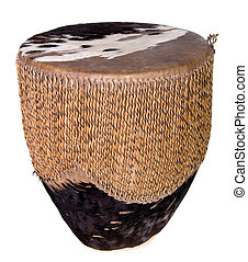 Indian Drum - Small rawhide Indian drum shot over white.