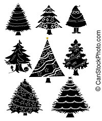Christmas trees - Nine christmas trees in silouette.