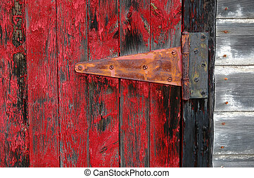 Red Shed Door and Hinge - Rustic red door with hinge and...