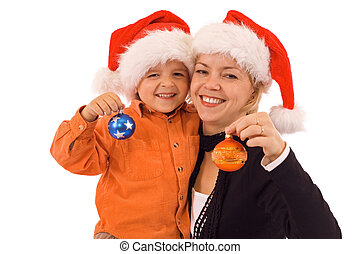 Woman and boy with christmas baubles - isolated