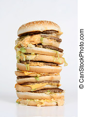 Massive Burger - A huge towering burger with dripping cheese