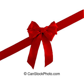 red satin ribbon and bow for christmas or valentines