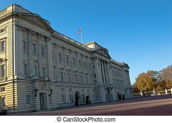 buckingham palace with blue sky background london uk