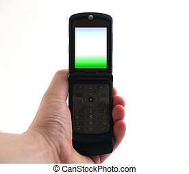 cell phone in hand - Cellular Phone held in hand with color...