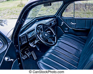 Classic Car Interior - A close up on the interior of a...