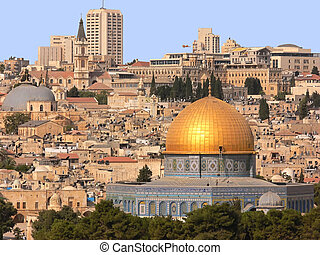 Golden Dom in Jerusalem. - The golden Dom on the temple...