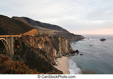 Bixby Bridge near Monterey, California - late afternoon at...