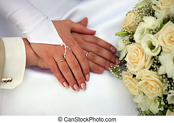 Bride and Groom Showing wedding rings - A portrait of a...