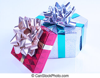 Presents with bows - Shiny presents with ribbons and bows on...