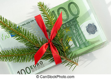 Money gift - Christmas money gift on white background