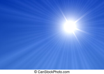 Sun Rays - Sun and Sun rays over a blue Background