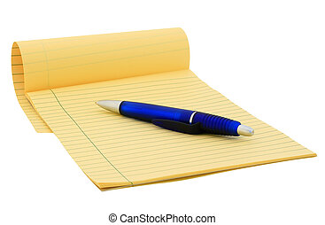 Legal pad clipping path - Legal pad and blue pen on white...