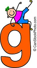 letter G boy - happy little boy climbing over giant letter G...