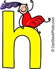 letter H girl - happy little girl climbing over giant letter...