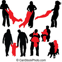 Happy Family - Vector illustrations of happy family Mother...