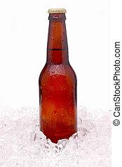 Brown Beer Bottle in Ice - Brown Beer Bottle without label...