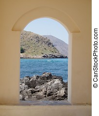 View from Window - View of the sea and cretan landscape from...